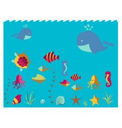 nautical animal elements wave ocean sea blue vector image