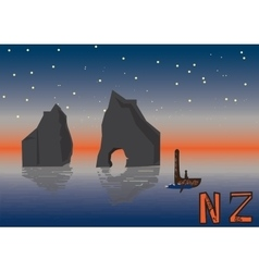 New Zealand night landscape vector image