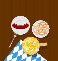 Oktoberfest food beer and sausages pretzels in vector