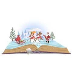 Open book Santa Claus with sledge and deers vector image
