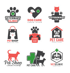 Pets shop logo veterinary clinic for domestic vector