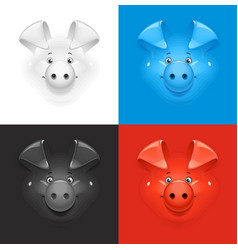Pig set of icon at different vector