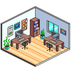 pixel art isometric office detailed vector image