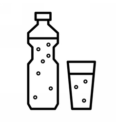 Plastic bottle and glass with drinking water vector image