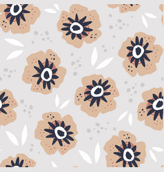 poppies flat hand drawn seamless pattern vector image