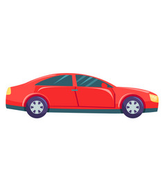 Red car isolated on white background hatchback vector