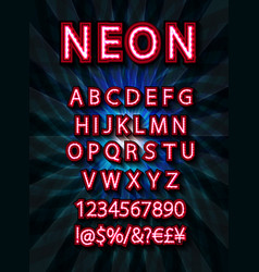 red set neon font vector image