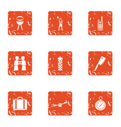 Repose icons set grunge style vector