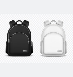 School backpack black and white rucksack front vector