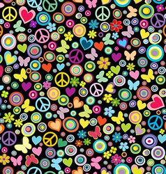 Seamless pattern of flowers circles hearts vector image