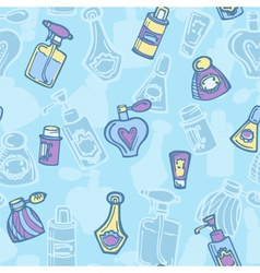 Seamless pattern with perfume bottles vector