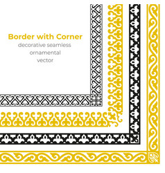 set of decorative seamless ornamental border vector image
