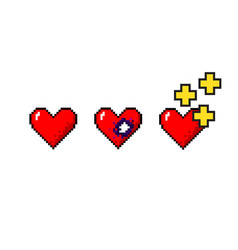 set of pixelart hearts medical concepts vector image