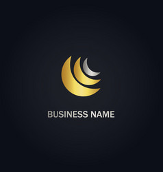Shape abstract technology gold logo vector