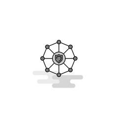 Sheild protected web icon flat line filled gray vector