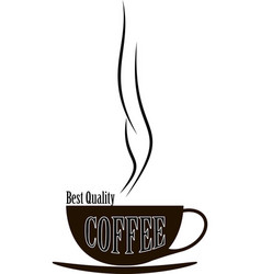 silhouette cup of hot coffee vector image