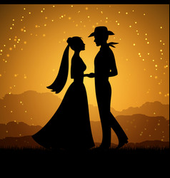 silhouettes young woman and cowboy man vector image