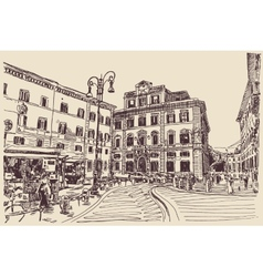 Sketch hand drawing rome italy famous cityscape vector