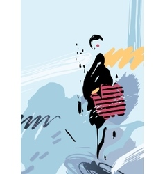 Stylish woman with bag on the abstract background vector image