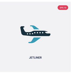Two color jetliner icon from transportation vector