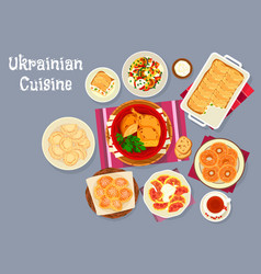 ukrainian cuisine traditional lunch dishes icon vector image