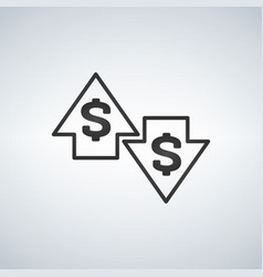up and down arrows with dollar sign in flat icon vector image