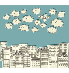 urban paper cutout doodle with airplane vector image