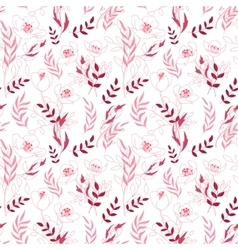 Vintage floral seamless pattern with flowers drawn vector