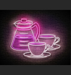 vintage glow signboard with coffee pot and cups vector image