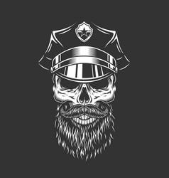 Vintage monochrome police officer skull vector