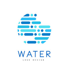 Water logo design brand identity template in blue vector