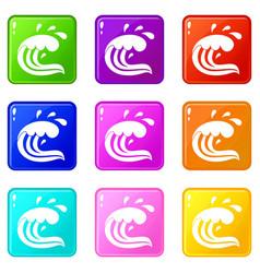 water wave splash set 9 vector image