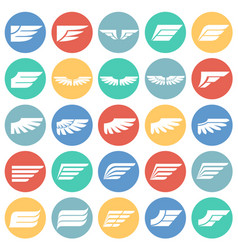 wings icons set on color circles white background vector image