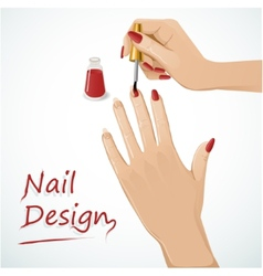 Woman hands putting a varnish on nails vector image