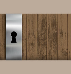 wooden door with a metal lock and keyhole vector image