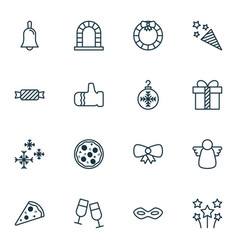 Year icons set collection of sliced pizza arch vector