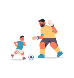 Young father playing football with son parenting vector