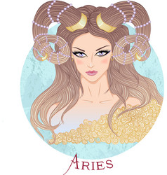 Astrological sign of Aries as a beautiful girl vector image vector image