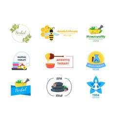 cartoon alternative medicine badges or labels set vector image vector image