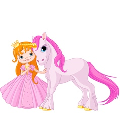 Cute princess and unicorn vector