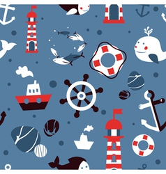seamless pattern with sea icons - abstract vector image vector image