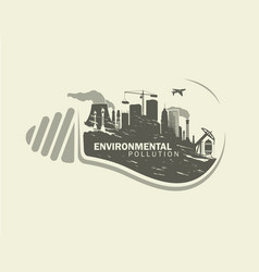 environmental pollution in bulb with plants vector image
