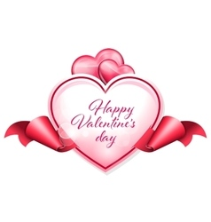 frame in form of heart with the ribbon on sides vector image