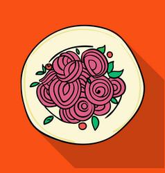 Italian spaghetti pasta icon in flat style vector