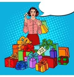 Pop Art Woman with Shopping Bags and Gifts vector image