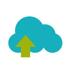 cloud storage with upload arrow icon image vector image