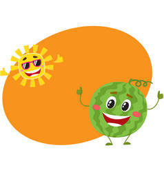 Cute funny watermelon and sun characters hot vector
