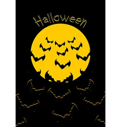 Halloween Bats and moon Bunch of scary animals vector image