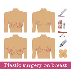 plastic surgery breasts medical equipment vector image