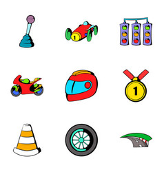 track icons set cartoon style vector image vector image